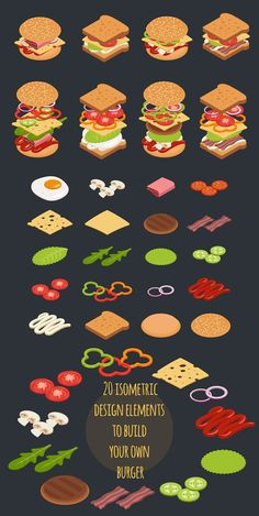Collection of 20 isometric design elements to build your own custom burger or sandwich. Set include all you need products to make tasty burger: cheese, onions, Burger Drawing, Delicious Burgers, Tasty Burger, Burger Vector, Cute Food Drawings, Menu Design, Food Design, Isometric Design, Pub Food