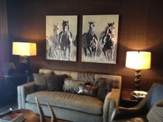 My large encaustic painted horses installed in lovely Yellowstone Club residence.