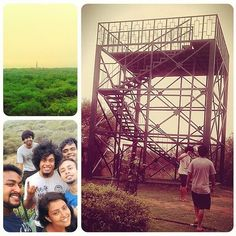 Good weather. Great people. Amazing fun. At the guard tower in Sanjay Van (forest) with the Qutub Minar visible.