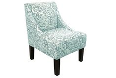 I would paint the chair legs white though... Love the print!  QUIET POWER  Quinn Swoop-Arm Chair, Turquoise  $379.00