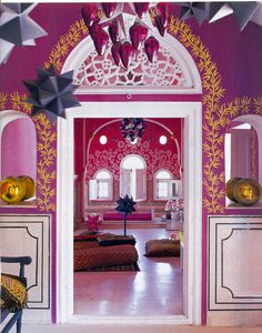 Stenciling! Liza Bruce and her husband have found and transformed 3 homes around the globe. This image is from the first home they did in India.