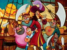 Captain Hook and His Gang - Art and Paintings by Artists Wyland, James Coleman, Rodel Gonzalez, Dan Mackin,