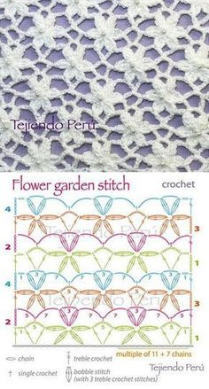 Flower stitch may have bunches of uses, but the most important thing is that they beautify all the crochet works. This flower stitch is just stunning. Crochet Star Stitch, Crochet Stitches Free, Crochet Motifs, Crochet Diagram, Crochet Chart, Easy Crochet Patterns, Knitting Patterns, Tutorial Crochet, Filet Crochet