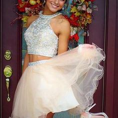 Two Piece Tulle Beading Prom Dresses Homecoming Dresses