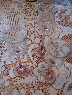 Set of Three Pink and Clear Crystal Votive Candle Holders