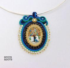Blue and Jade Soutache Pendant with Glass by SpotsandDotsDesign, $60.00