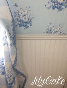 """""""Jane's Rose Stripe"""" linen cotton curtains and """"Jane's Rose Bouquet"""" wallpaper in blueberry blue.  Designed by Lilyoake, available on Spoonflower."""
