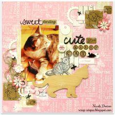 Cute Kitty Cat (scrap-utopia) - Scrapbook.com Cat Sketch, Soft Colors, Kids Cards, Scrapbook Pages, Scrapbooking Layouts, Mini Albums, Cute Cats, Dog Cat, Calming Colors