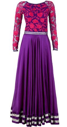 Purple anarkali with embroidered yoke available only at Pernia's Pop-Up Shop.