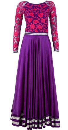 Purple anarkali with embroidered yoke by VARUN BAHL. http://www.perniaspopupshop.com/designers-1/varun-bahl