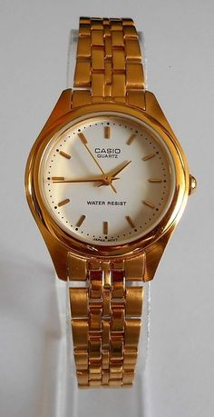 78a545167ce7 Casio Analog Watch Womens Gold Tone LTP 1129 White Dial Face Water Resistant