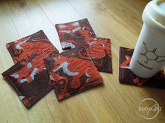 Wrap scrap Coasters from Natibaby Foxes Brun by KodoBa