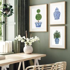 """Michelle Grayson on Instagram: """"More lovely sage green walls for this Thursday evening. Trying bring out the green though the SG prints. . . . . . . . . . . #sproutgallery…"""" White Art, Blue And White, Sage Green Walls, Chanel Art, White Prints, Ginger Jars, Chinoiserie, Thursday, Gallery Wall"""
