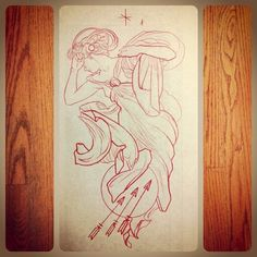 mike moses doing mucha's evening star. i have wanted this exact tattoo from him. dammit. time for a new idea...