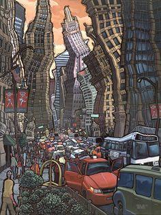 """North Michigan Avenue - Chicago"" Original painting on wood panel"