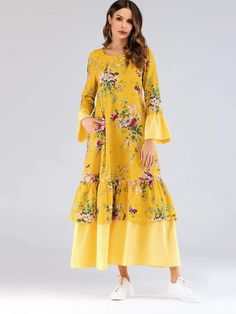 To find out about the Floral Print Flounce Sleeve Tiered Layer Longline Dress at SHEIN, part of our latest Arabian Clothing ready to shop online today! Fashion News, Fashion Blogs, Woman Fashion, Fashion Styles, Fashion Fashion, Vintage Fashion, Simple Kurta Designs, Natural Clothing, Dress P
