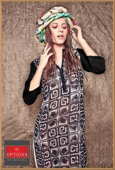 """The best color in the whole wide world, is the one that looks good, on you!"""" Don't you girls agree to that??? Shop for this beautiful and gorgeous printed black dress at Options. #Options #Fashions #Juhu #Andheri #Shopping"""