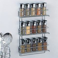 Organize It All 3-Tier Wall-Mounted Spice Rack - Chrome (1812), 2015 Amazon Top Rated Cabinet & Drawer Organization #Home