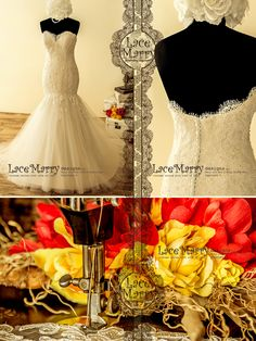 Buy Now Beautiful Mermaid Wedding Dress with Strapless Bodice from Ivory Alencon Lace and Cream Satin with Pearl Beading - Mermaid Wedding Dresses by LaceMarry. Country Wedding Dresses, Black Wedding Dresses, Bohemian Wedding Dresses, Wedding Dresses Plus Size, Modest Wedding, Bridal Gowns, Wedding Gowns, 2017 Wedding, Lace Wedding