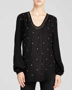 Karen Kane Black Bead Embellished Drawstring Blouse | Bloomingdale's #Bloomingdales #Karen_Kane #Black #Sparkle #Bead #Embellished #Drawstring #Blouse  #Womens #Holiday #Fashion