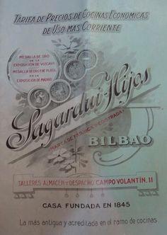Catálogo ilustrado de cocinas Bilbaínas. Sagardiu Hijos Bilbao,1919