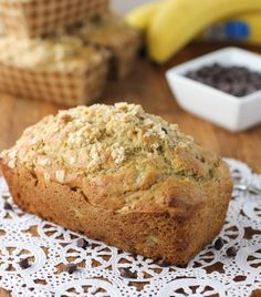 Whole Wheat Chocolate Chip Banana Bread only 1/2 cup sugar