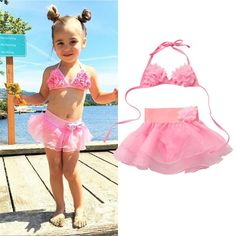 NWT Infant Toddler Girls Op Bathing Suit Swim Beach Pink Yellow 2 piece Hearts