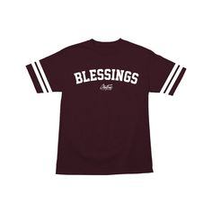 Image of BLESSINGS STAY TRUE STRIPED TEE (MAROON)