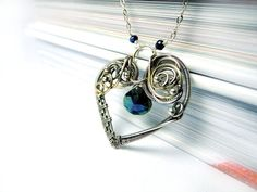 Topaz Heart Necklace  Silver and Gold Wire by NurrgulaJewellery, $118.00