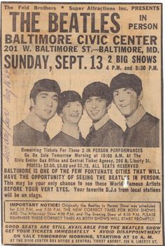 Newspaper Ad for: The Beatles' - Sept. 13, 1964 Baltimore, Md. concert, at the Civic Center. Interesting prices at $2.50 to $3.75!! {cwl}