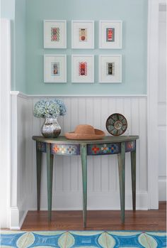 Entryway console table and beadboard Entryway Console Table, Luxury Decor, Bunt, Beach House, Sweet Home, New Homes, Room, Furniture, Design