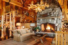 log cabin living room - Pesquisa Google