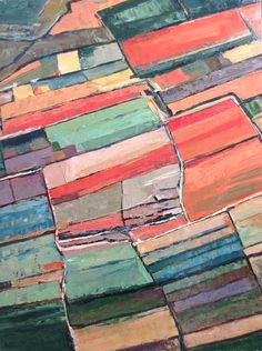 Abstract painting: 'Aerial Fields' by Kim Ford Kitz. kimfordkitz.com +Available now at Anthropologie in Corte Madera, CA