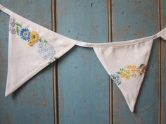 Vintage Linen Bunting.  This piece has been made from a gorgeous hand embroidered tablecloth.