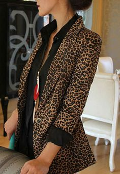 Leopard Print Shoulder Pad Blazer Tunic Coat  Jacket