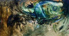 "Yahne le Toumelin, ""la mer couleur d'absinthe"", 110x200, 1963. Abstracción lírica"