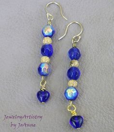 Cobalt Blue Earrings  Handcrafted Exquisite by JewelryArtistry