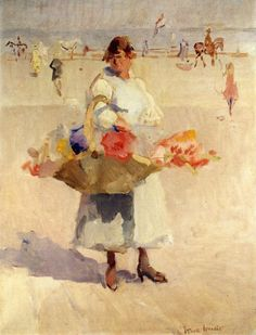 A Flower Girl on the Beach circa 1920-1923  Isaac Israëls (February 3, 1865 – October 7, 1934)  Dutch painter associated with the Amsterdam Impressionism movement
