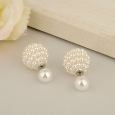Brand New Double Side Grape Shape Ball Intimation Pearl Stud Earrings for Women //Price: $5.49 & FREE Shipping //     #style #beautiful
