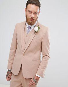ASOS Wedding Skinny Suit Jacket in Light Pink Wool Mix - Pink