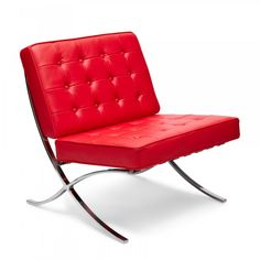 Mies van der Rohe Style Red Barcelona Chair