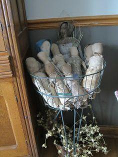 primitives by olde lady morgan / basket full of prim dolls