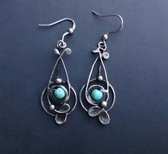 Metal Earrings with  howlit .  Earrings is hand made.Tiffany technique, Healing Stone, by Helenamode on Etsy