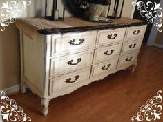 Annie Sloan Chalk Paint -- Dark coffee-color stained top, ASCP Old White, distressed, clear wax, dark wax. by marian