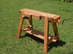 Work and Saw Bench - Homemade portable work and saw bench constructed from scrap oak. Equipped with a commercial face vise and a tail vise adapted from a pipe clamp.
