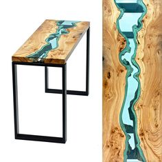 """Greg Klassen is an artist who creates beautiful wooden tables with glass rivers and lakes embedded into their surfaces. """"I try to marry the natural beauty of the wood with the skilled craftsmanship of the maker,"""" explains Klassen. Live Edge Tisch, Live Edge Table, Wooden Furniture, Cool Furniture, Furniture Design, Furniture Movers, Furniture Outlet, Luxury Furniture, Mesa Live Edge"""