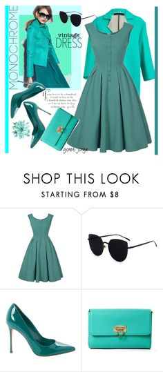 """Monochrome -Vintage Dress"" by goreti on Polyvore featuring moda, Sergio Rossi, BCBGMAXAZRIA, vintage, dress, casualoutfit, CasualChic, fashiontrend e rosegal"