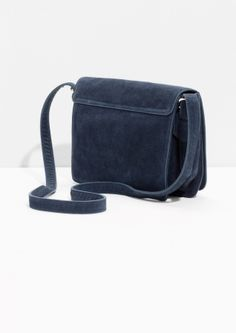 & Other Stories image 3 of Suede Messenger Bag in Navy