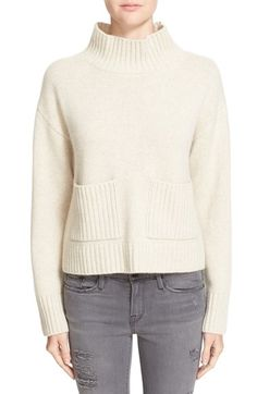 Free shipping and returns on FRAME Crop Wool & Cashmere Sweater (Nordstrom Exclusive) at Nordstrom.com. Thick rib-knit trim, front patch pockets and a slightly cropped hemline add a punch of modern style to a supremely soft wool-and-cashmere sweater.