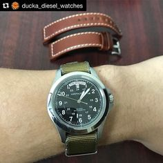 REPOST!!!  The Hamilton Khaki King , paired with the M1936 strap, reposted from @ducka_diesel_watches  repost | credit: ID @havestonstraps (Instagram)